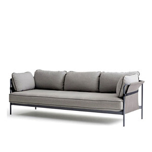 CAN Sofa 3 seater Black Frame/Grey Canvas
