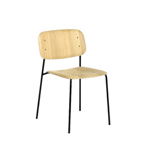 Soft Edge 10  Oak Clear Lacquered Seat/Black Steel Legs  주문 후 3개월 소요