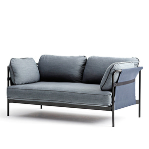 CAN Sofa 2 seater   Black frame/Blue Canvas/SUR#120