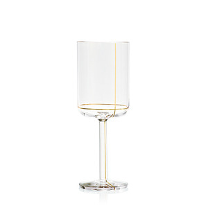 Colour Glass, White wine Gold Lines 1pcs