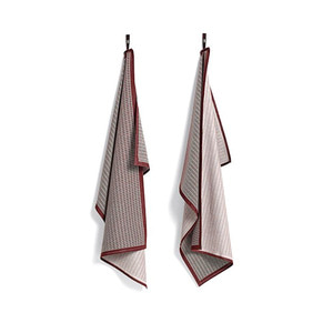 Tea Towels Grid Bordeaux