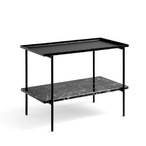 Rebar Rectangular Side Table Black Steel and Marble