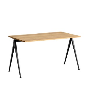 Pyramid Table 01 Black Frame / Clear Lacquered Solid Oak Top 3 sizes