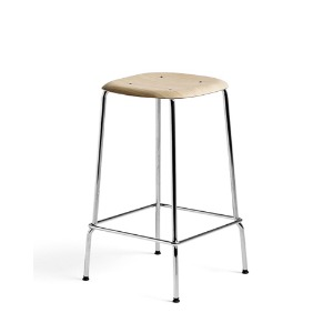 Soft Edge 30 Bar Stool H65  Oak Matt Lacquered Seat/Chromed Steel Legs