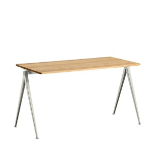 Pyramid Table 01 Beige Frame / Clear Lacquered Solid Oak Top  3 sizes