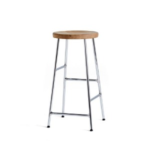 Cornet Bar Stool Low H65  Chromed Legs / Oiled Oak Seat  주문 후 2개월 소요