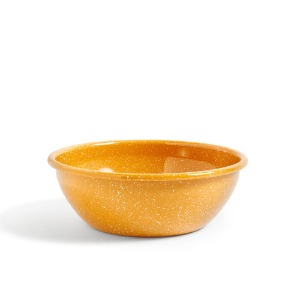 Enamel Serving Bowl  Dust Mustard