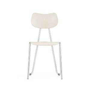 Arno 417 Chair White Stained Beech/Chrome Frame