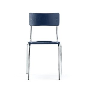 Comeback 041 Chair Dark Blue Stained Beech/Chrome