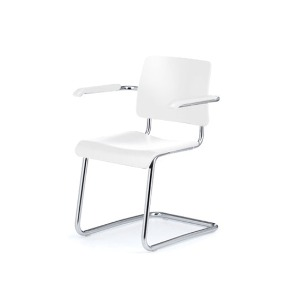 Weimar 5112 Chair White Lacquered Beech/Chrome Frame