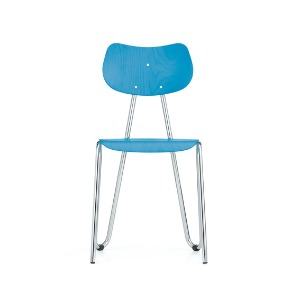 Arno 417 Chair Light Blue Stained Beech/Chrome Frame