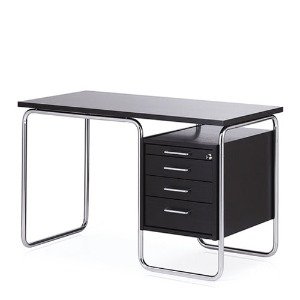 Contor Desk S Black Stained Ash/Chrome Frame