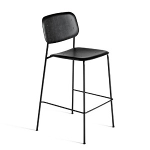 Soft Edge10 Bar Stool Black / Black Powder Coated Steel Legs